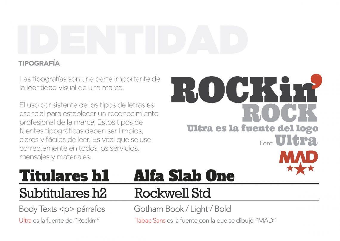 tipografía Manual de identidad corporativa rock brand design madrid